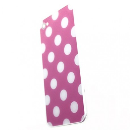 Coque arriere iphone 4 rose pois blanc