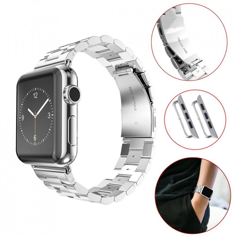 bracelet en acier pour montre apple watch. Black Bedroom Furniture Sets. Home Design Ideas