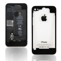 Coque arriere iphone 4s noir transparent